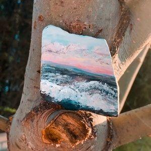 ocean hand painted rock
